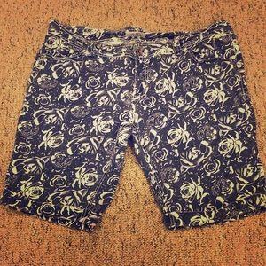 YMI Shorts - Royalty by YMI Flower Patterned Denim Shorts